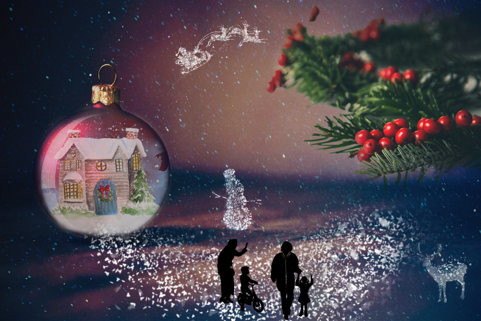 Home for Holidays....the magic of Christmas  #FreeToEdit  #edited #remixit #doubleexposure  #snowglobes #snow #clipart Op @freetoedit