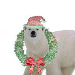 freetoedit greenery bow santa hat