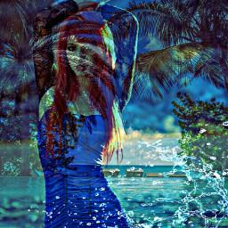 doubleexposure picsart redhairedgirl beachview freetoedit
