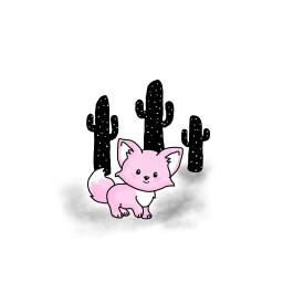 pink fox black cactus mydrawing freetoedit