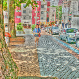 girl collorfull walking tree effect
