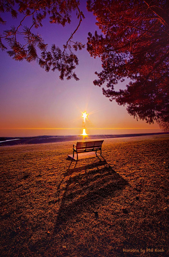 """ It Is Words With You I Seek "" - Wisconsin Horizons by Phil Koch.   #sunrise  #sunset  #shoreline  #beautiful  #beauty  #lakefront  #bench  #outdoors  #nature"